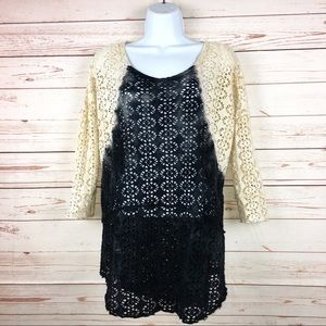 We The Free People Crochet Lace Sweater Top Sz S